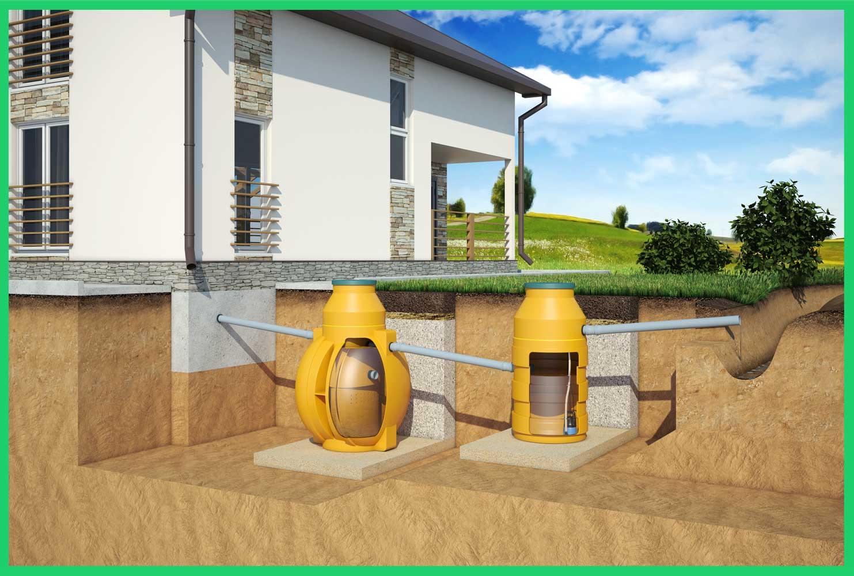 Отвод воды через накопительный колодец в ливневую канаву
