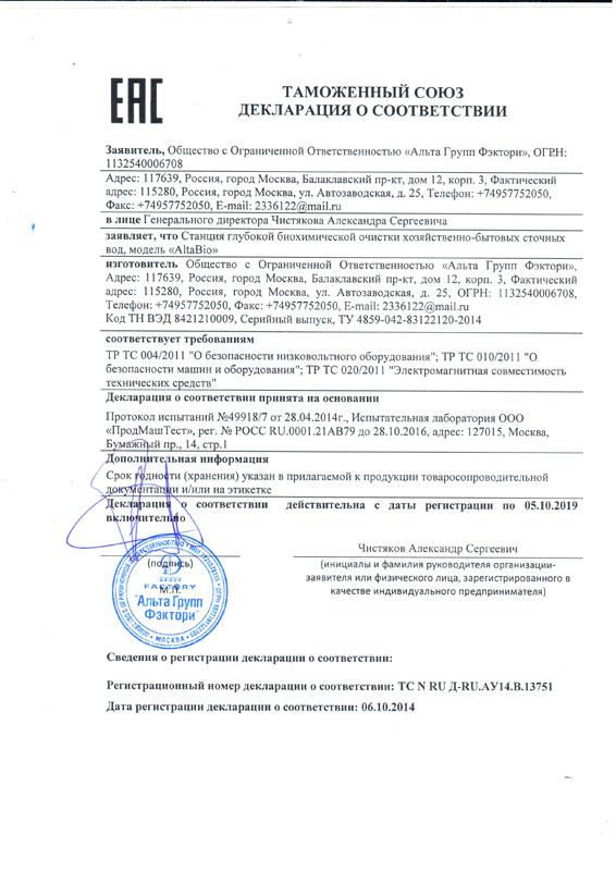 Декларация о соответствии ЕАС